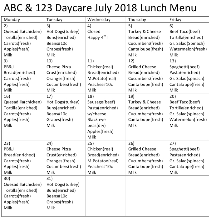 print friendly abc123 daycare lunch menu for july 2018
